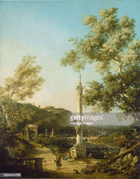 English Landscape Capriccio with a Column, c. 1754. Artist Canaletto.