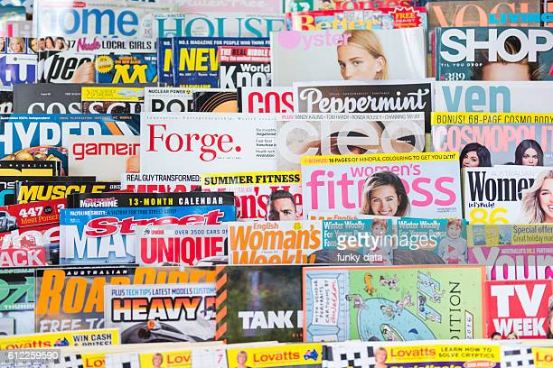 English language magazine stack
