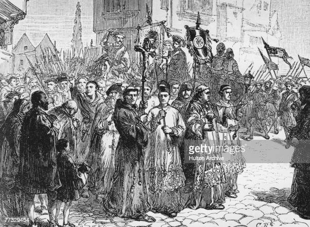 English lawyer Robert Aske leads the Pilgrimage of Grace a northern uprising in protest against the religious reforms of King Henry VIII 1536 Aske...