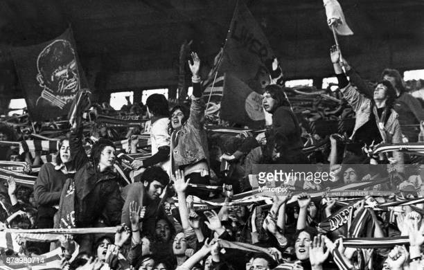 English League Division One match at Anfield. Liverpool 2 v Leeds United 0. Jubilant Liverpool fans singing in the Kop after the victory that brought...