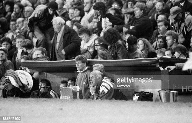 English League Division One match at Anfield. Liverpool 2 v Wimbledon 3. Liverpool caretaker manager Ronnie Moran in the dug out during the match,...