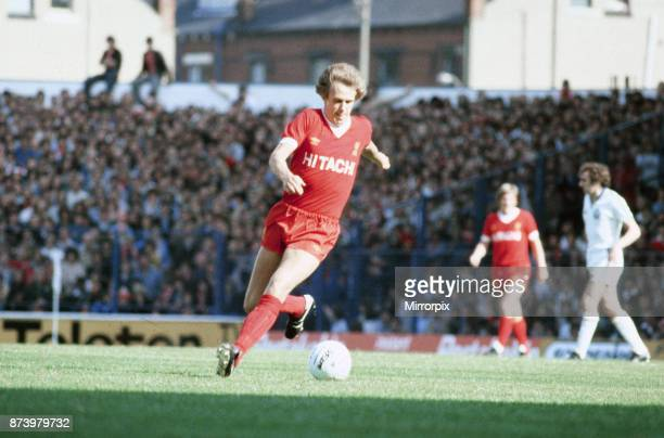 English League Division One match at Elland Road. Leeds United 1 v Liverpool 1. Phil Neal of Liverpool, wearing the new Hitachi sponsored strip, 15th...