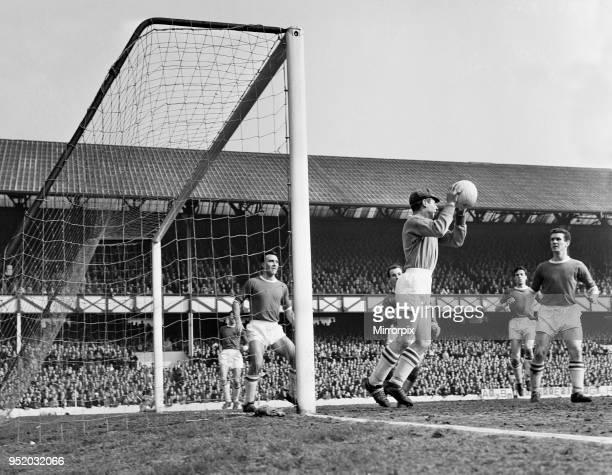 English League Division One match at Goodison Park. Everton 0 v Blackburn Rovers 0. Else the Blackburn keeper stops a header from Vernon as Matt...