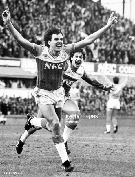 English League Division One match at Goodison Park Everton 2 v Aston Villa 0 Everton's Graeme Sharp celebrates after scoring the opening goal of the...