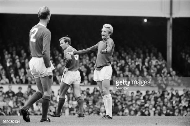 English League Division One match at Highbury Arsenal 4 v Manchester United 2 Denis Law with his arms outstretched appeals for a decision 25th...
