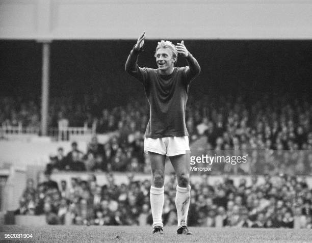 English League Division One match at Highbury Arsenal 4 v Manchester United 2 Denis Law with his arms raised 25th September 1965