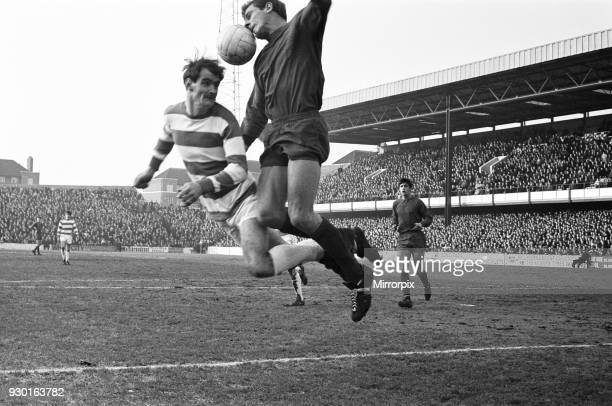English League Division One match at Loftus Road. Queens Park Rangers 0 v West Bromwich Albion 4. John Kaye of West Brom gets a mouthful of ball here...