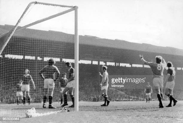 English League Division One match at Old Trafford Manchester United 0 v Manchester City 1 Denis Law stands expressionless without celebration after...