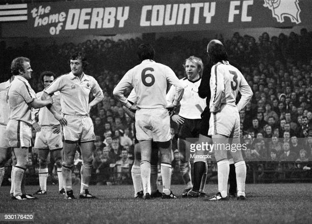 English League Division One match at the Baseball Ground Derby County 3 v Leeds United 2 Francis Lee and Norman Hunter stare at each other after...