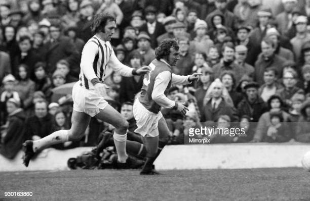 English League Division One match at The Hawthorns West Bromwich Albion 2 v Arsenal 2 Jeff Astle battles with Bob McNab 24th April 1971