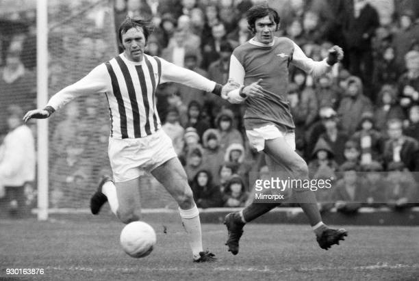 English League Division One match at The Hawthorns West Bromwich Albion 2 v Arsenal 2 Jeff Astle holds off Peter Simpson of Arsenal 24th April 1971