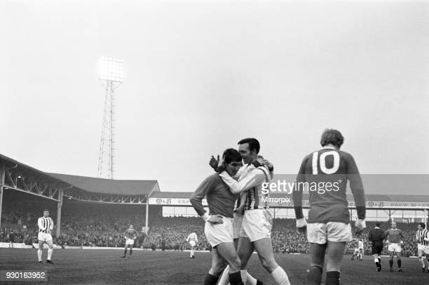 English League Division One match at The Hawthorns West Bromwich Albion 6 v Manchester United 3 Jeff Astle commiserates with United defender Tony...