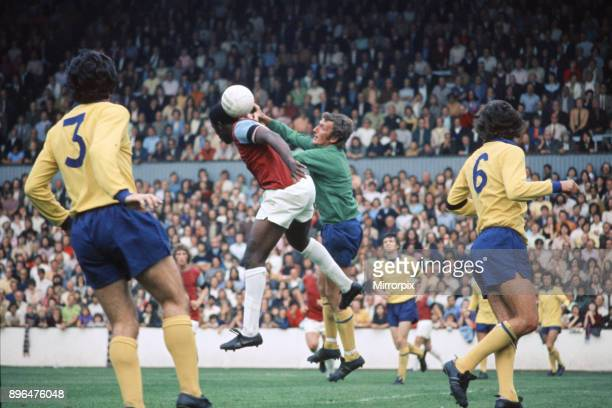 English League Division One match at Upton Park West Ham United 2 v Manchester United 2 United goalkeeper Alex Stepney leaps for the ball with West...