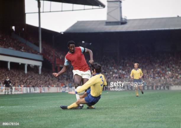 English League Division One match at Upton Park West Ham United 2 v Manchester United 2 West Ham's Clyde Best challenged for the ball by Tonny Dunne...