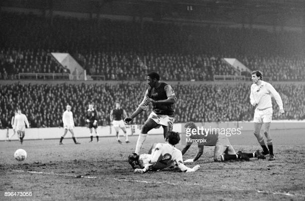 English League Division One match at Upton Park West Ham United 3 v Manchester United 0 West Ham's Clyde Best scores a goal as United players and...