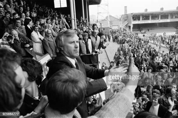 English League Division Two match at Filbert Street. Leicester City 2 v Charlton Athletic 1. Leicester City manager Jock Wallace acknowledges the...