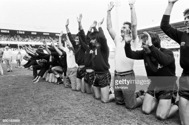 English League Division Two match at the Baseball Ground Derby County 4 v Plymouth Argyle 2 Celebrations on the pitch as Derby are promoted to League...