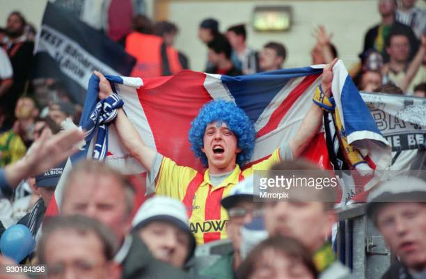 English League Division Two Play Off Final at Wembley Stadium. West Bromwich Albion 3 v Port Vale 0. West Brom fan with blue wig in the crowd, 30th...