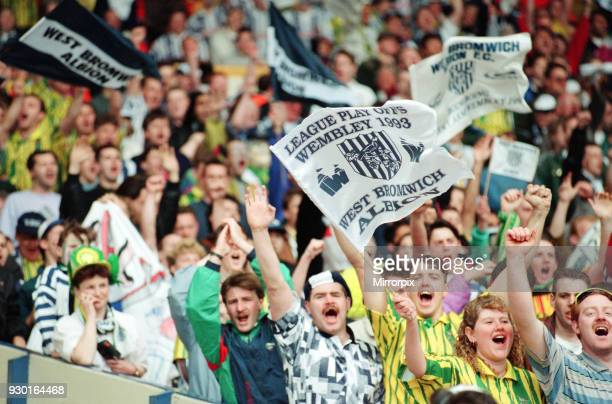 English League Division Two Play Off Final at Wembley Stadium. West Bromwich Albion 3 v Port Vale 0. West Brom fans waving flags and banners in the...