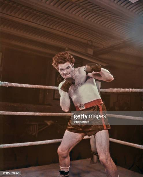 English light heavyweight boxer Freddie Mills sparring in a boxing ring in London in May 1949. Freddie Mills is currently World light heavyweight...