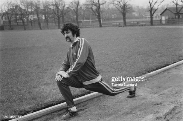 English long distance runner David Bedford training in Bethune Park, north London, UK, February 1973.