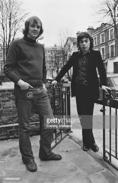 English lyricist Tim Rice with composer Andrew Lloyd Webber, UK, December 1971.