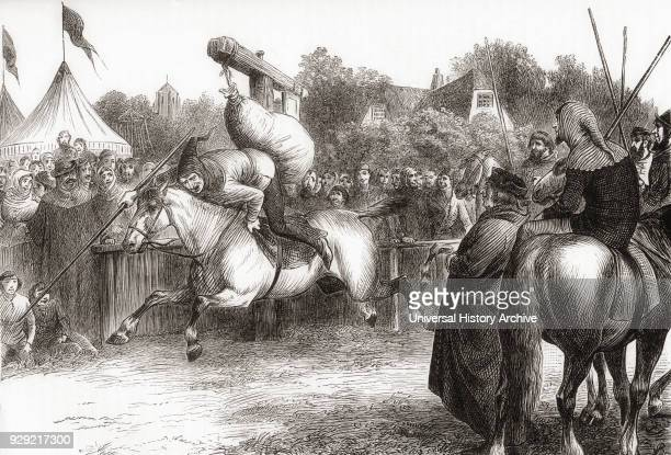 English merry making in the 14th century Tilting at the Quintain also called Pavo From Cassell's History of England published c1901