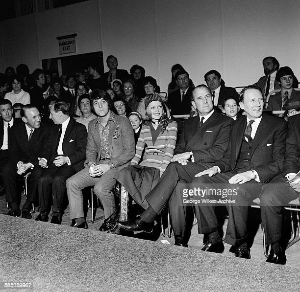 English model and actress Lesley Lawson aka Twiggy at a fashion show with her manager Justin de Villeneuve