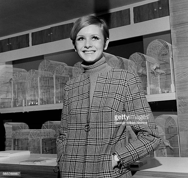 English model and actress Lesley Lawson aka Twiggy at the Budgerigar Information Bureau in London