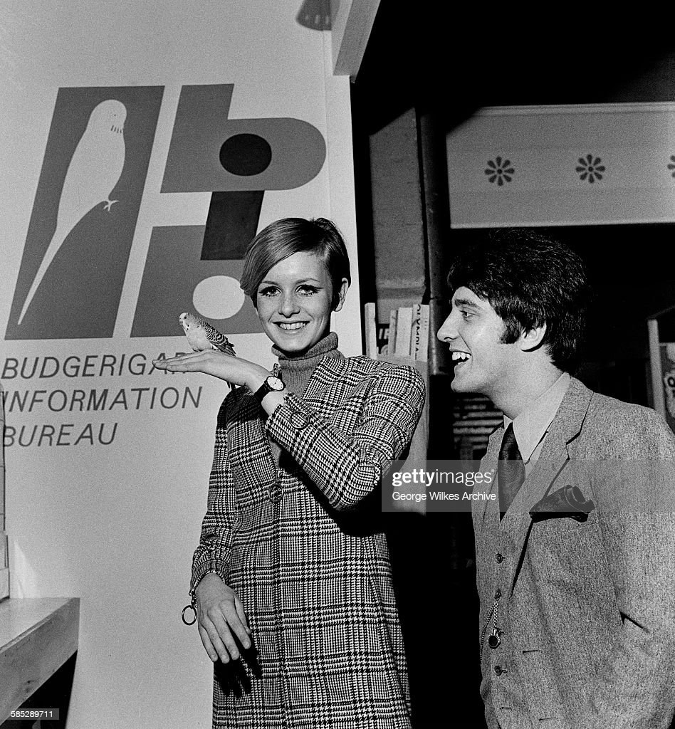 English model and actress Lesley Lawson, aka Twiggy, with her manager Justin de Villeneuve at the Budgerigar Information Bureau in London.