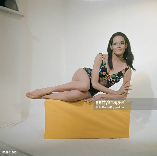 English model and actress Martine Beswick who plays the character of Paula Caplan in the James Bond film 'Thunderball' posed wearing a bathing...
