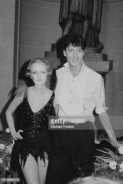 English model and actress Twiggy with American dancer and choreographer Tommy Tune backstage at the Royal Variety Performance Theatre Royal Drury...