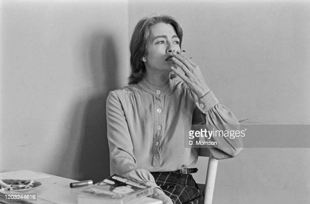 English model and showgirl Christine Keeler smoking a cigarette, UK, 30th May 1985.