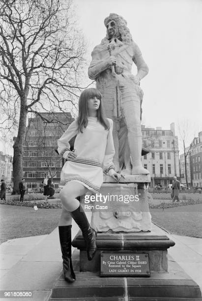 English model Chrissie Shrimpton the young sister of Jean Shrimpton wearing 'Little Louis Angel' a cream silk braided party dress by Alice Pollock in...