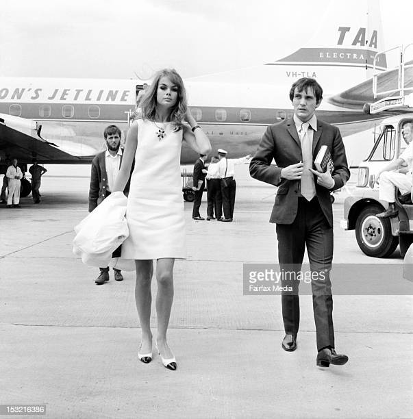 English model Jean Shrimpton and her companion British actor Terence Stamp arrive at Essendon Airport in Melbourne October 30 1965 The couple flew...