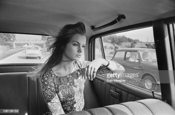 English model Jean Shrimpton in the back of a car 12th July 1966