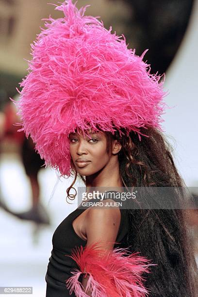 English model Naomi Campbell displays a creation designed by Karl Lagerfeld for the presentation of Chanel's 1994 SpringSummer high fashion...