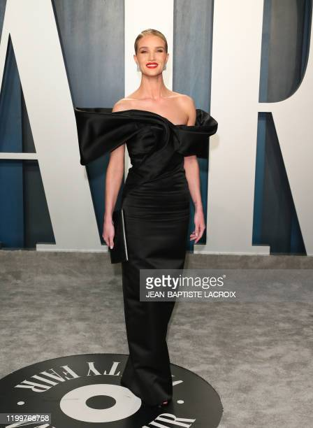 English model Rosie Huntington-Whiteley attends the 2020 Vanity Fair Oscar Party following the 92nd Oscars at The Wallis Annenberg Center for the...