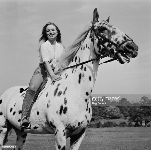 English actress Susan Shaw riding an Appaloosa mare a rare breed in the UK 9th September 1971