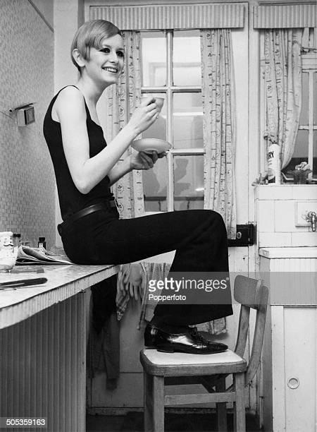 English model Twiggy enjoys a cup of tea 3rd March 1966