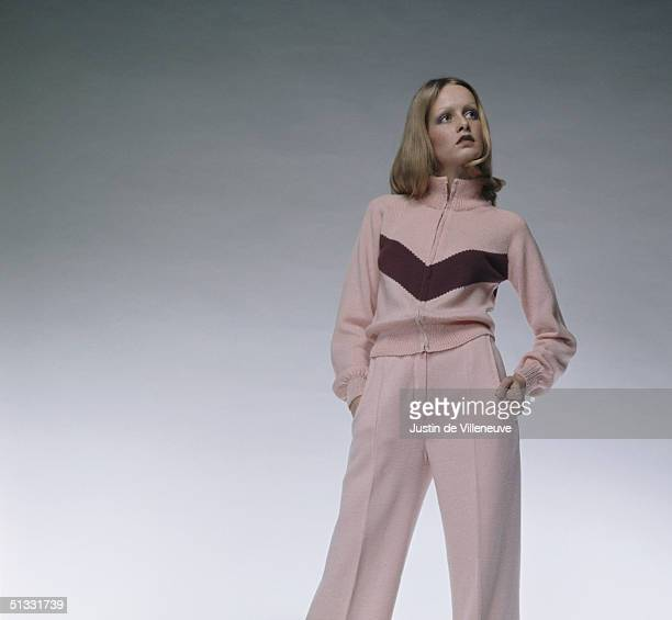 English model Twiggy wearing a knitted cardigan of her own creation early 1970s