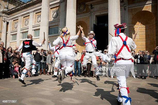 english morris dancers - morris dancing stock photos and pictures
