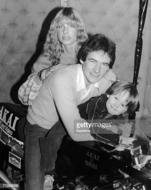 English motorcycle racer Barry Sheene on his new Yamaha TZ500 bike with his fiancee Stephanie McLean and his nephew Scott Smart 9th January 1980
