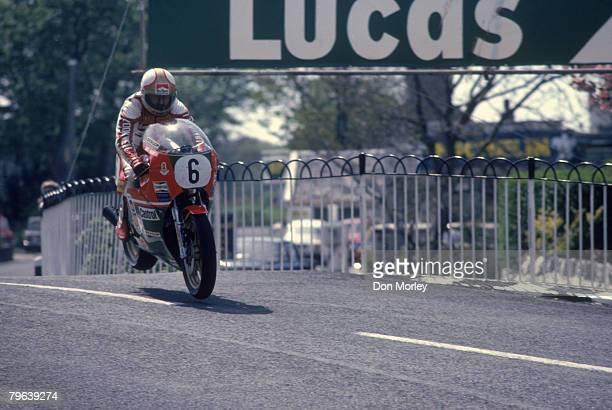 English motorcycle racer Mike Hailwood on a Suzuki during the Classic TT race on the Isle of Man 1979 He finished second after Alex George