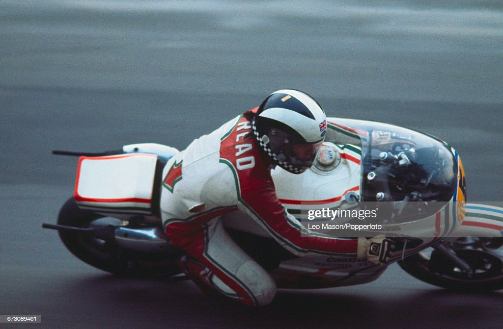 English motorcycle racer Phil Read competes on his Suzuki RG500cc racing bike during the Gauloises Powerbike International race meeting at Brands Hatch circuit in Fawkham, England in October 1976.