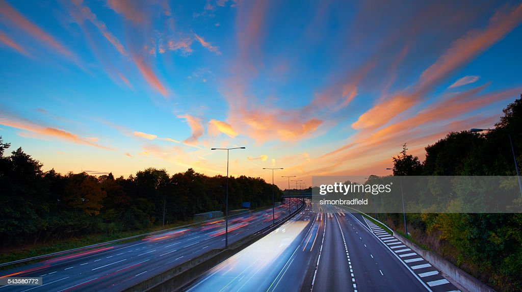 English Motorway At Sunset : Stock Photo
