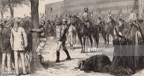 English mounted police flogging one of a band of villagers at Heliopolis for assaulting English soldiers In 1885