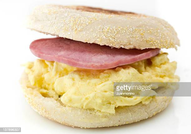 English Muffin with Scramble Eggs and Canadian Bacon