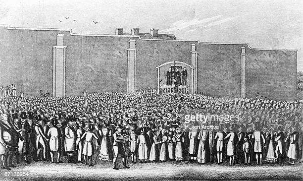 English murderer William Corder is executed at the gallows in Bury St Edmunds Suffolk 11th August 1828 Corder shot dead his lover Maria Marten at the...