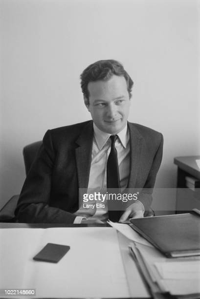 English music entrepreneur Brian Epstein , manager of the Beatles, in his new office, London, UK, 10th March 1964.